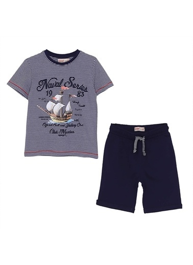 Silversun Kids Erkek Çocuk Çizgili Baskılı Kısa Kollu Tişört Şort Takım !Kt 215441 Lacivert